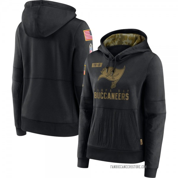 Women's Tampa Bay Buccaneers Black 2020 Salute to Service Performance Pullover Hoodie
