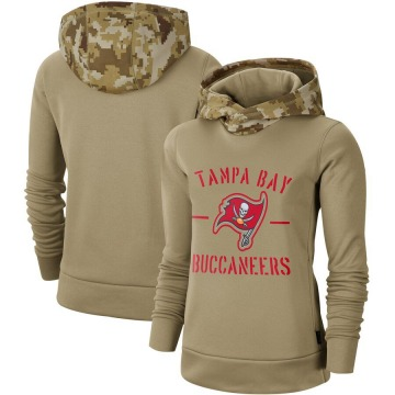 Women's Tampa Bay Buccaneers Khaki 2019 Salute to Service Therma Pullover Hoodie